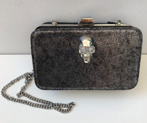 Einzigartige, Wunderschöne Nautilus Silver clutch ledertasche.Prison art